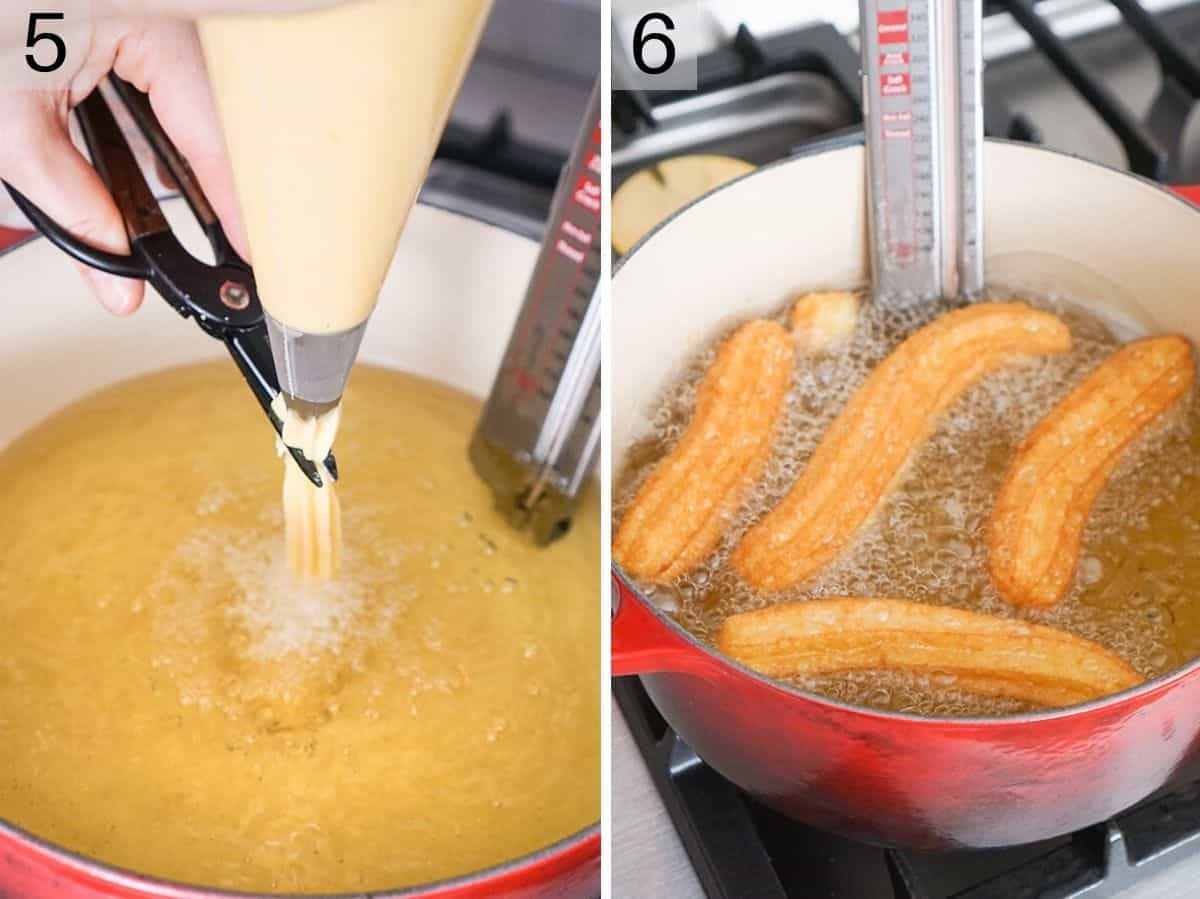 step by step photos showing how to fry churros