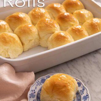 A pinterest graphic of dinner rolls