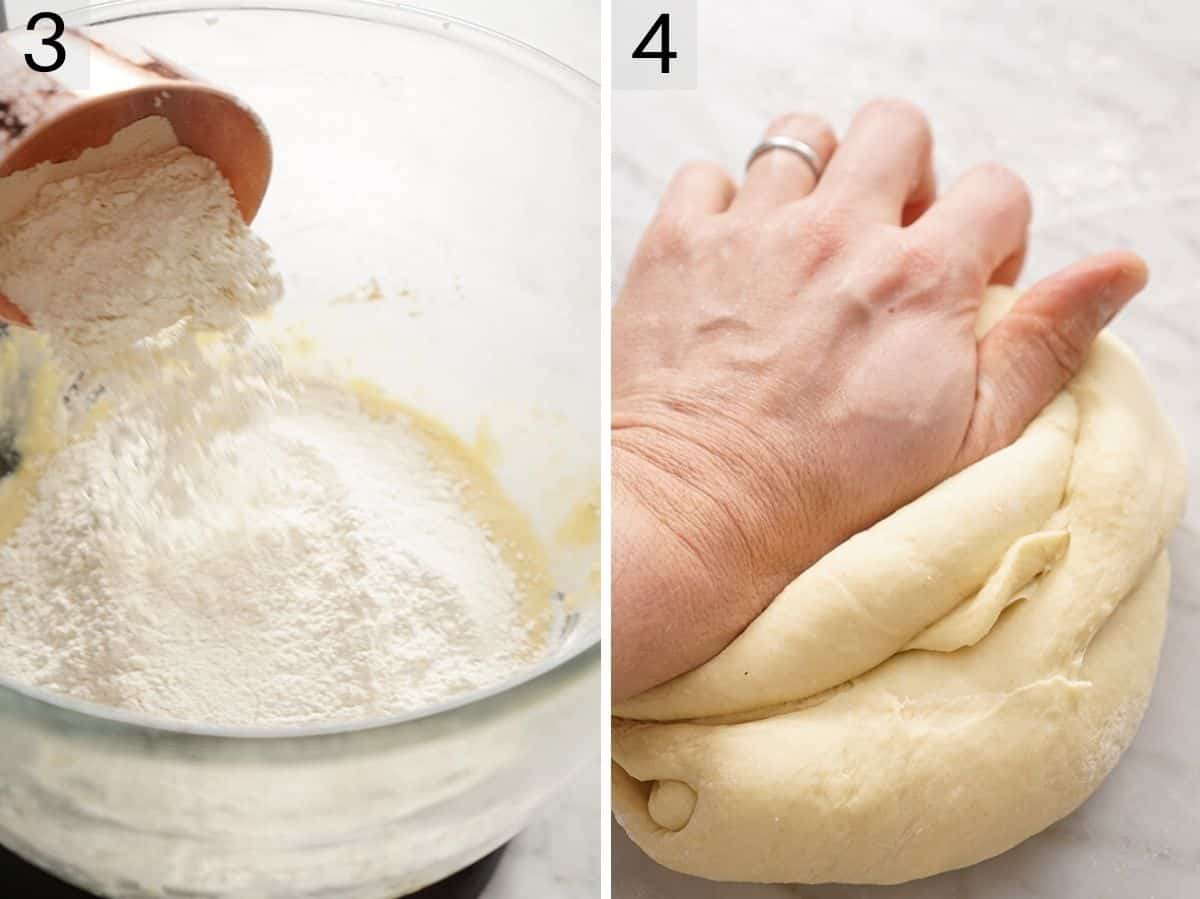Two photos showing how to make dough and knead it