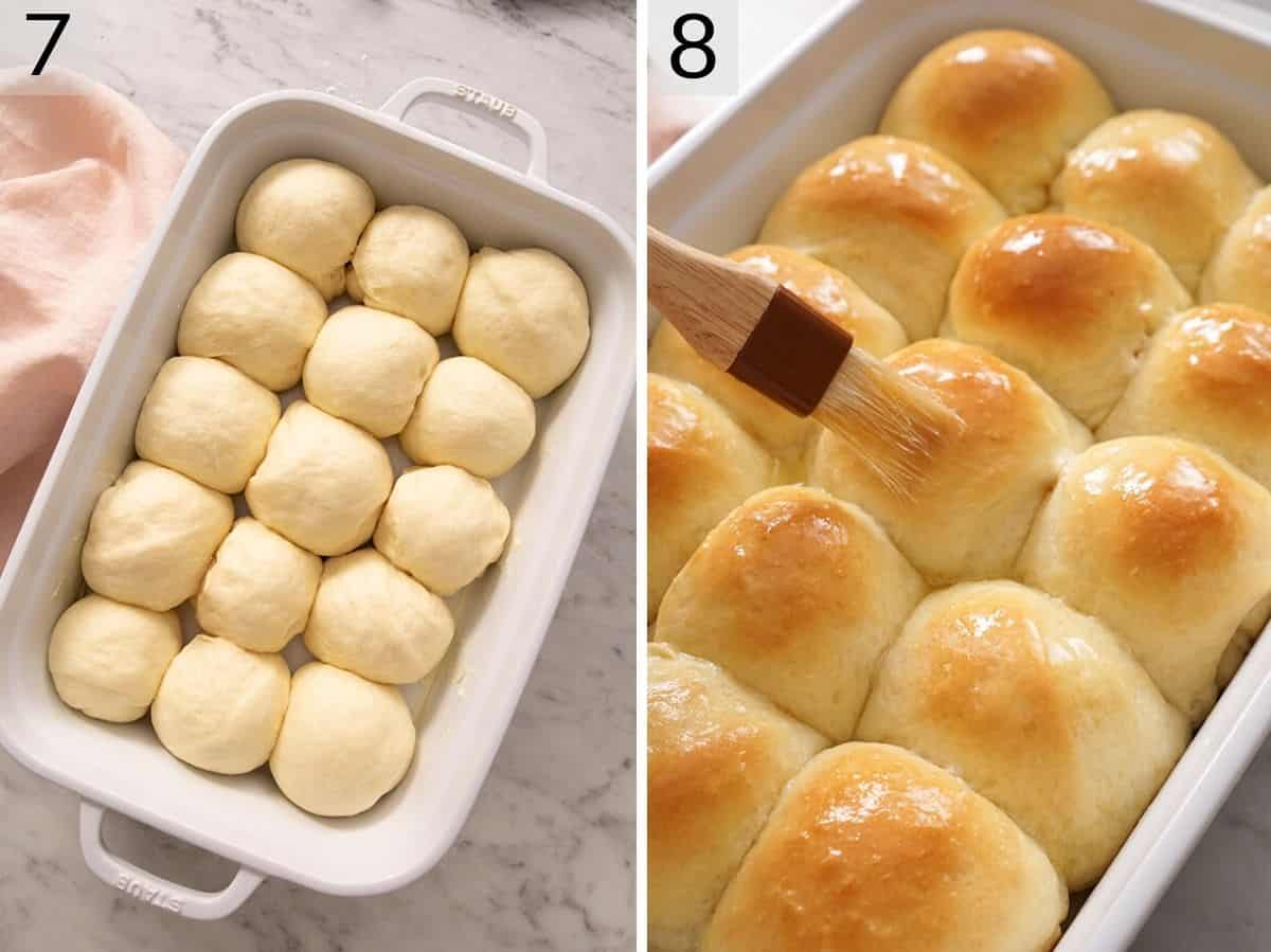 Two photos showing before and after baking dinner rolls