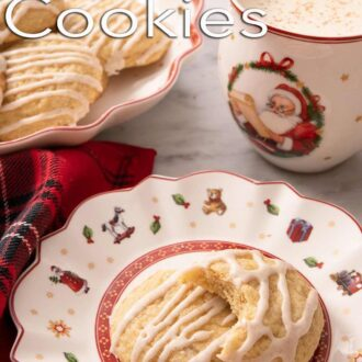 A Pinterest graphic of eggnog cookies