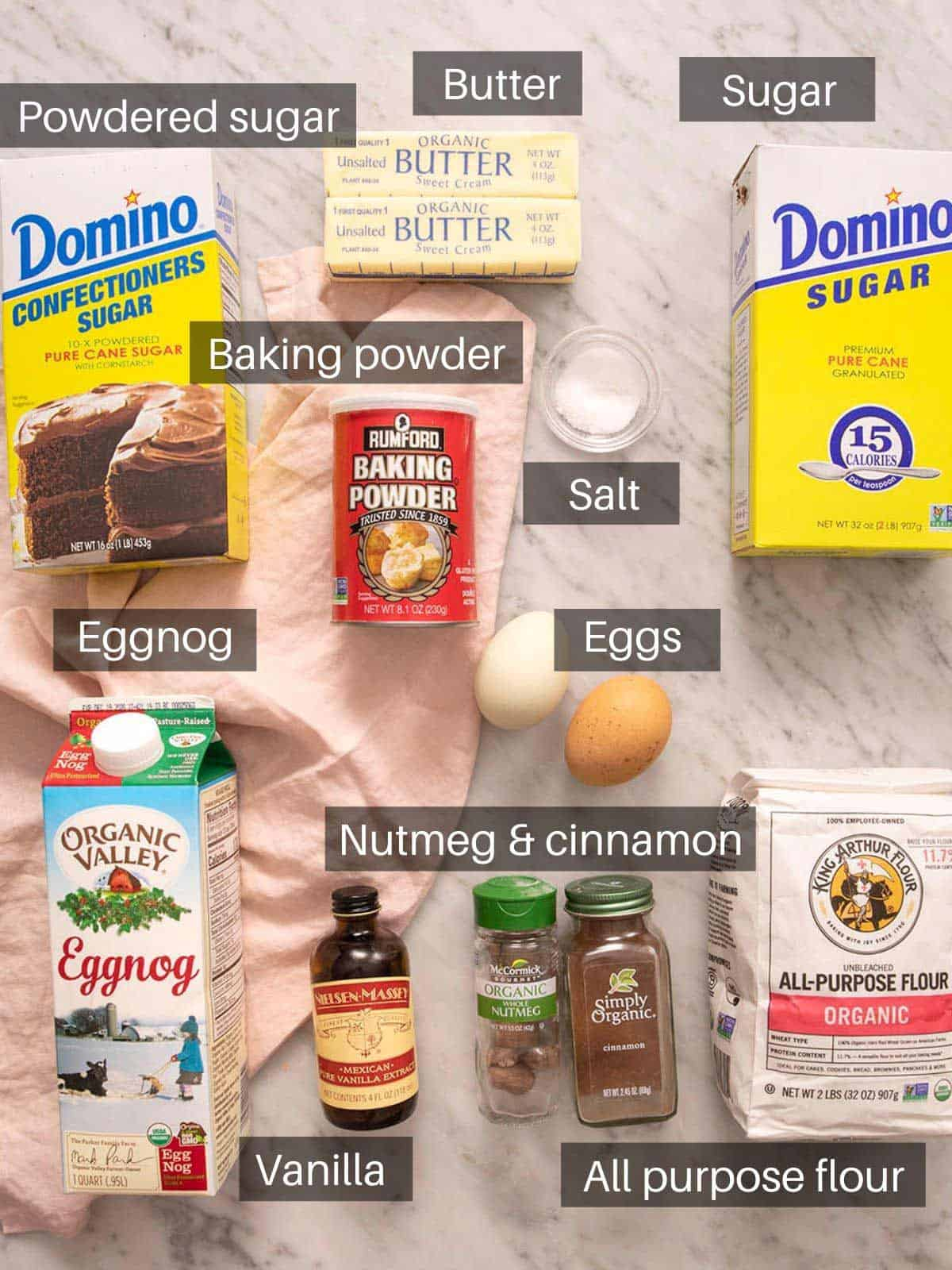 A photos of all the ingredients you need to make eggnog cookies