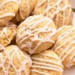A close up of eggnog cookies with icing