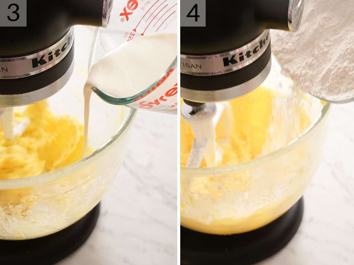 Two photos showing how to make eggnog cookie batter