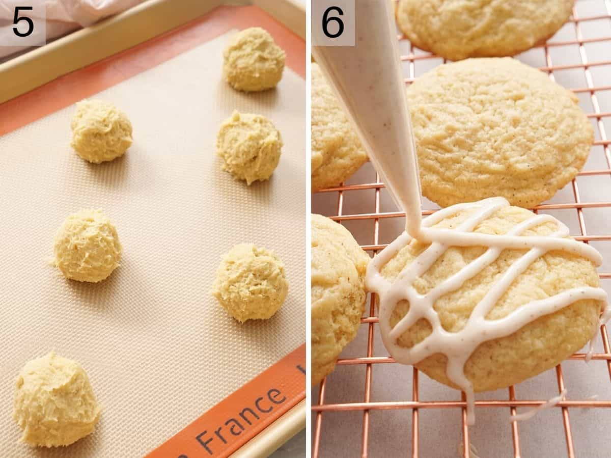 Two photos showing eggnog cookies before and after baking