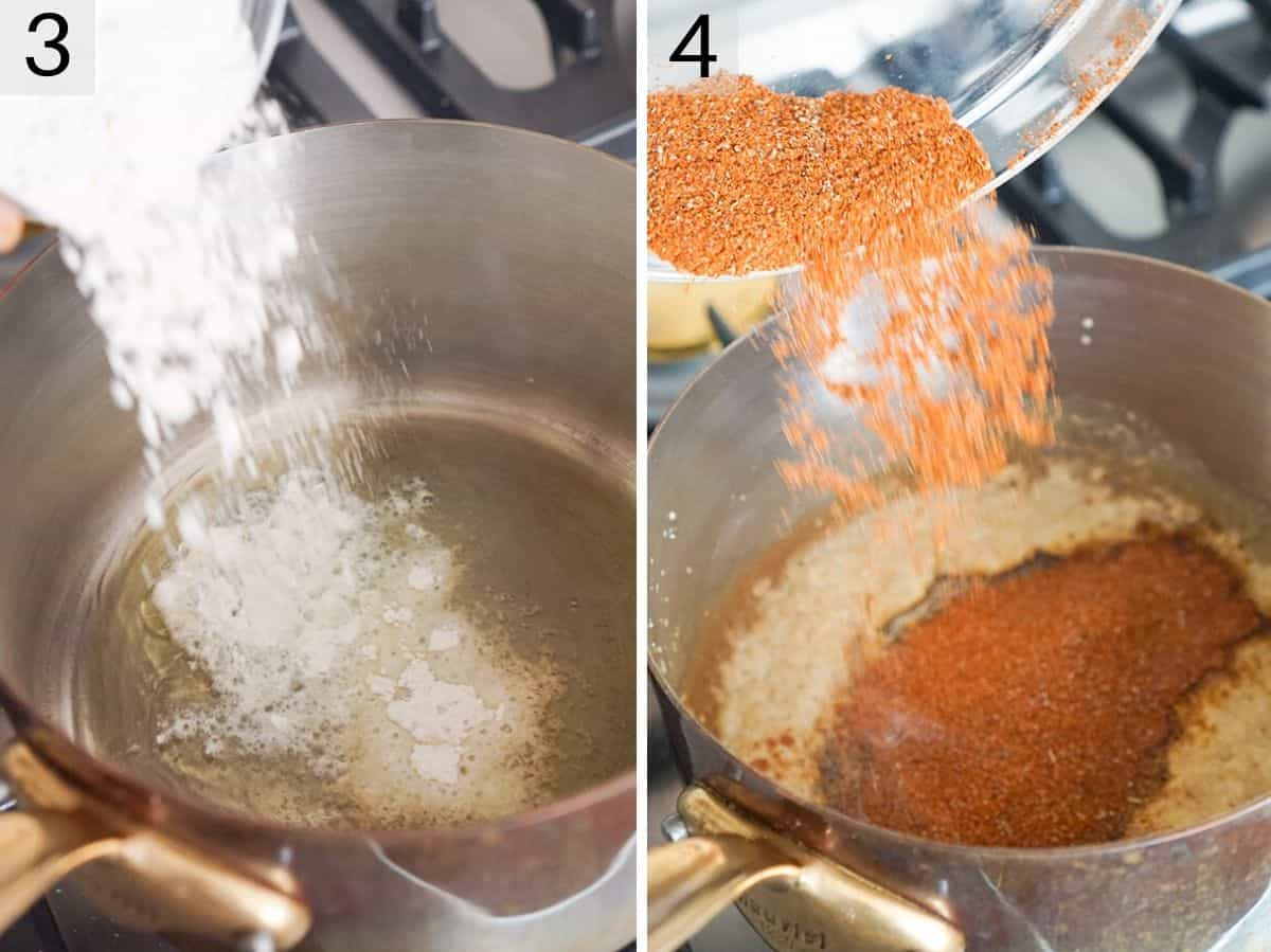 Two photos showing how to make enchilada sauce