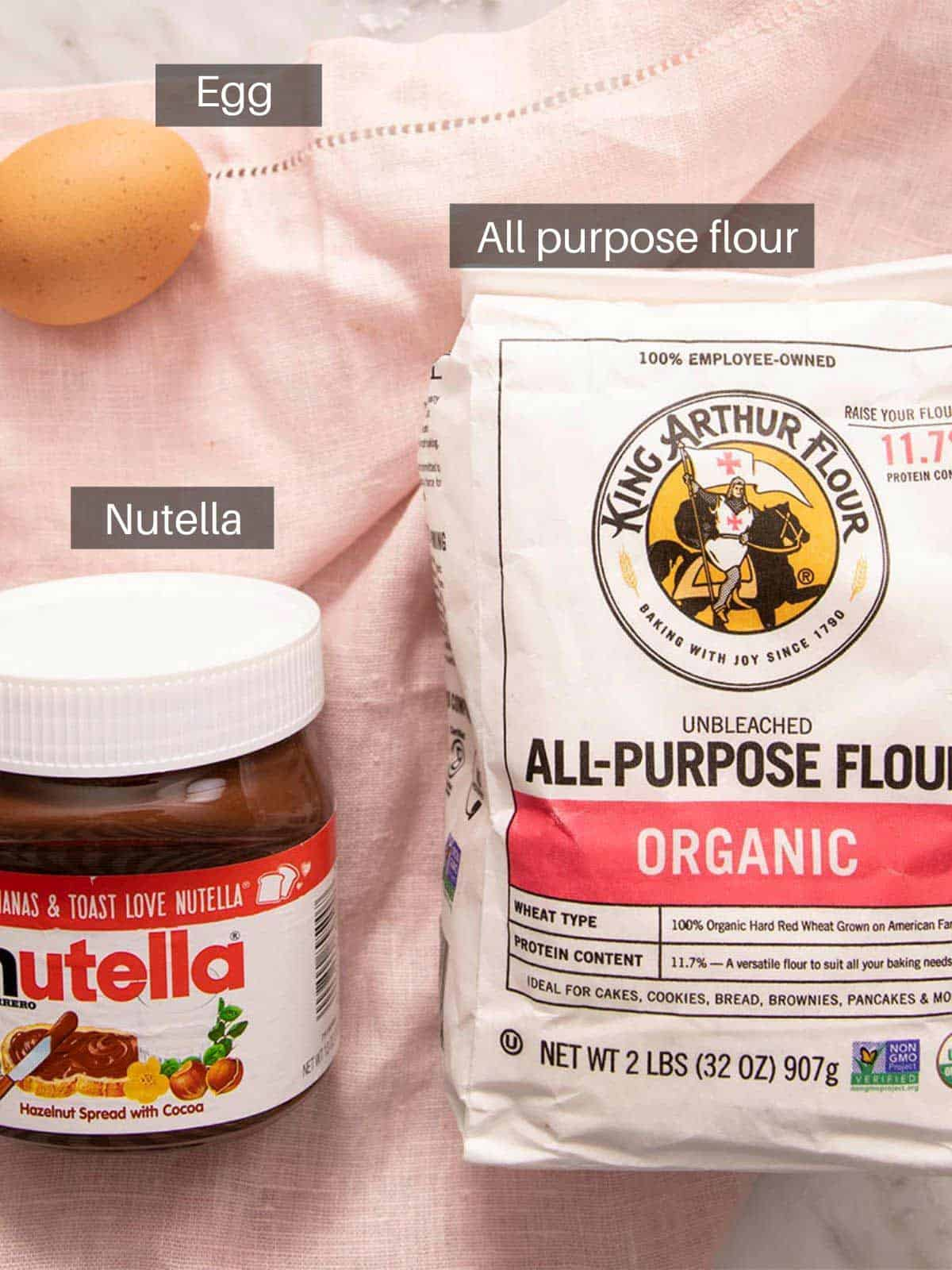 An overhead shot of all the ingredients you need to make nutella cookies
