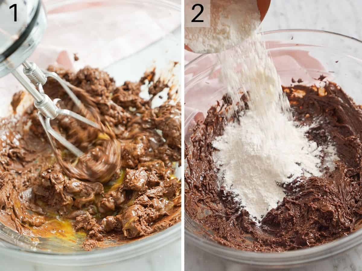 Two photos showing how to make chocolate cookie batter