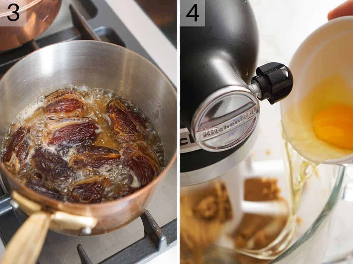 Two photos showing how to make a sticky toffee pudding batter with dates