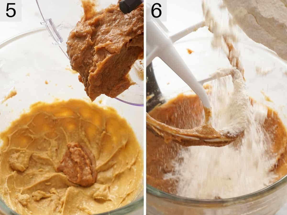 Two photos showing how to whip a cake batter using a stand mixer