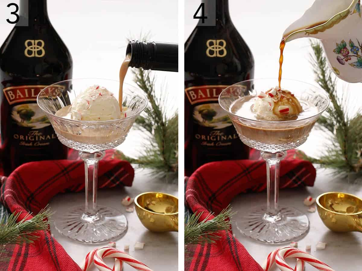 Two photos showing an affogato getting made with Baileys and espresso.