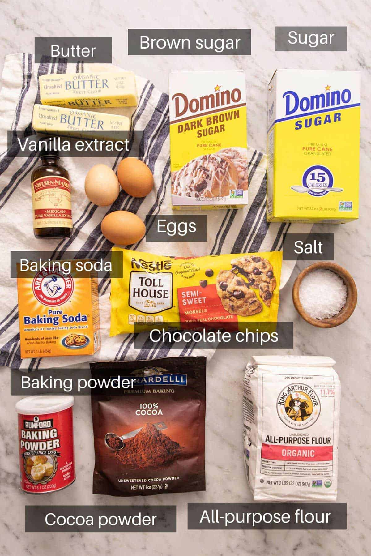 An overhead shot of all the ingredients you need to make brookies
