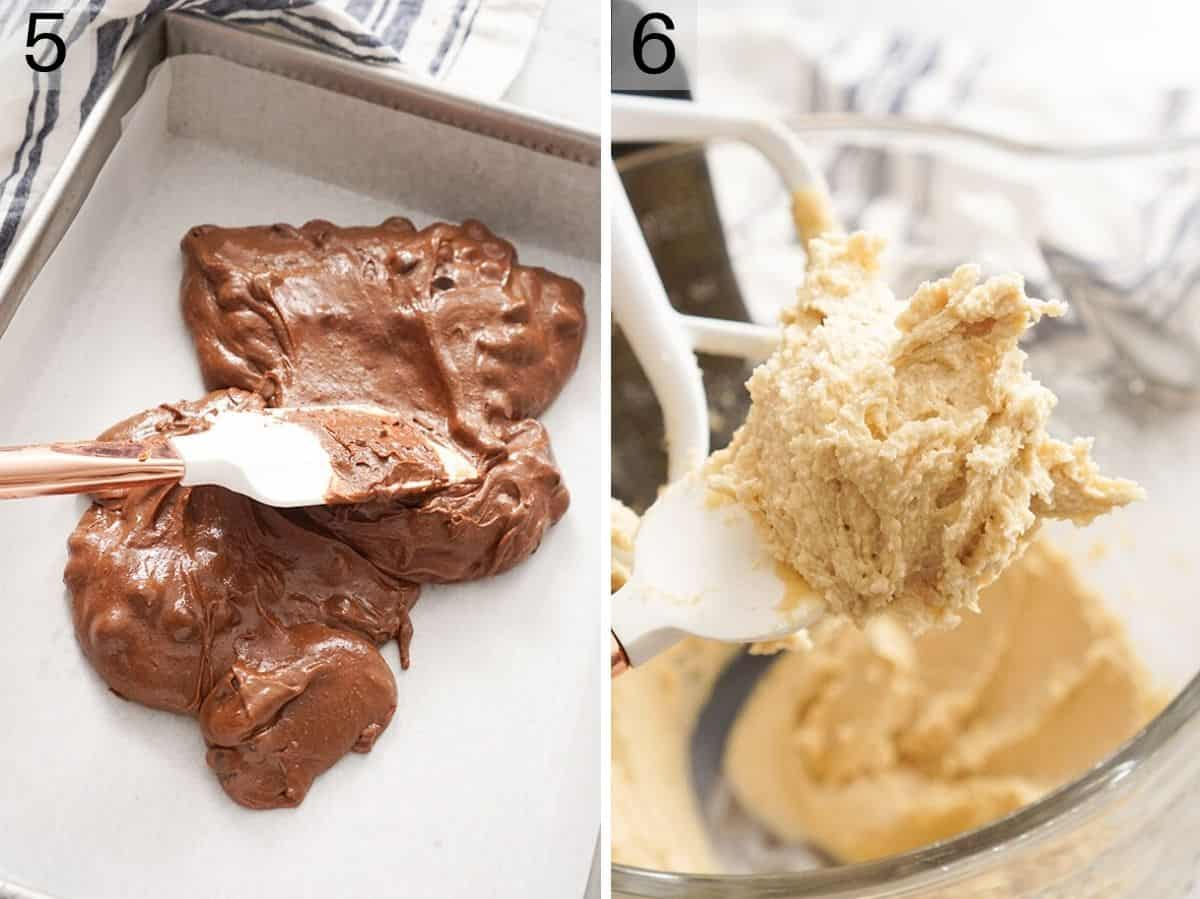 Two photos showing how to make cookies dough and brownie batter for brookies
