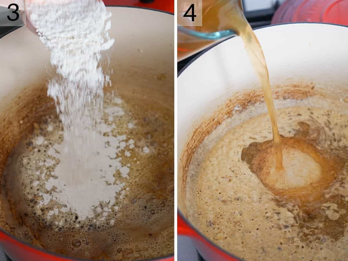Two photos showing how to make a roux and creamy sauce