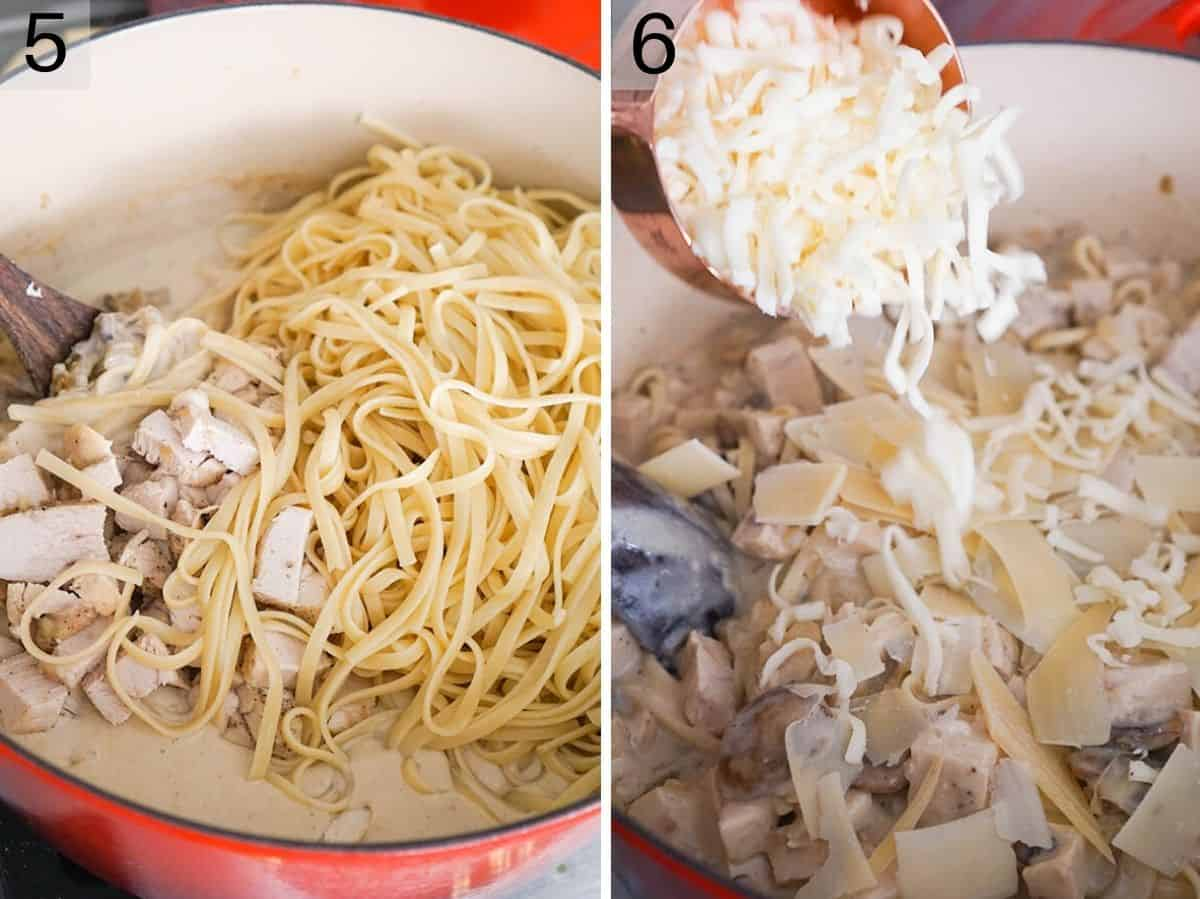 Two photos showing how to add pasta and cheese, mushrooms and chicken to a sauce