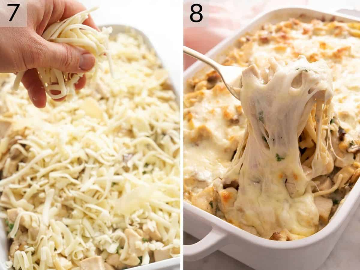 Two photos showing chicken tetrazzini before and after baking