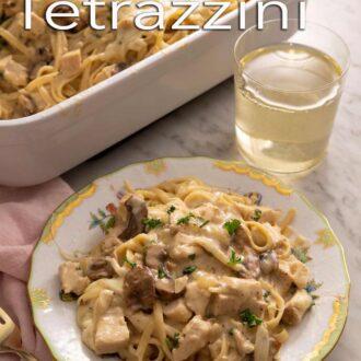A pinterest graphic of chicken tetrazzini