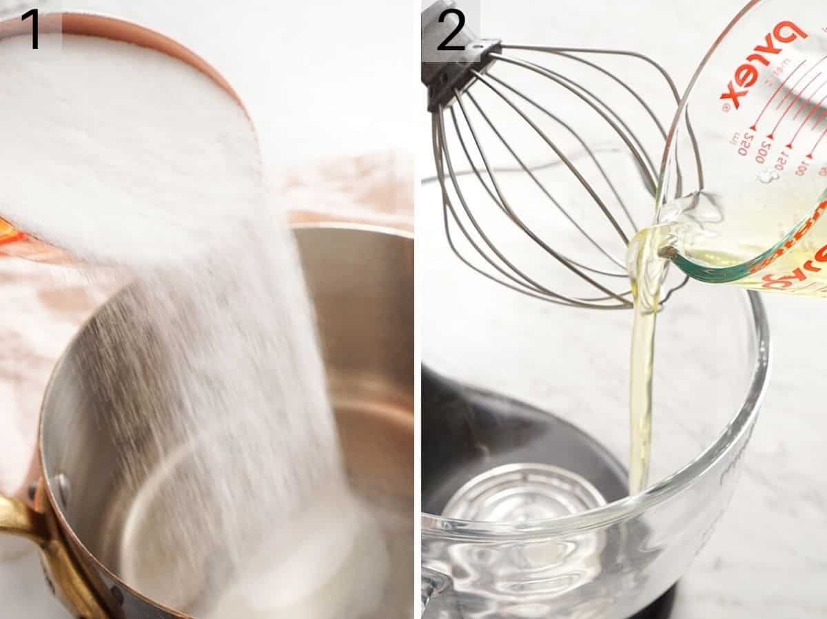 Two photos showing how to add sugar to a saucepan and add egg white to a mixer