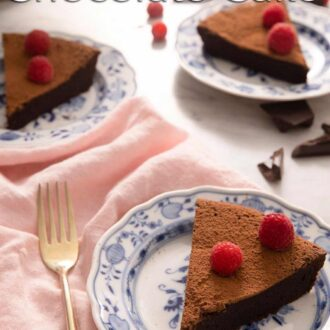 A pinterest graphic of a flourless chocolate cake