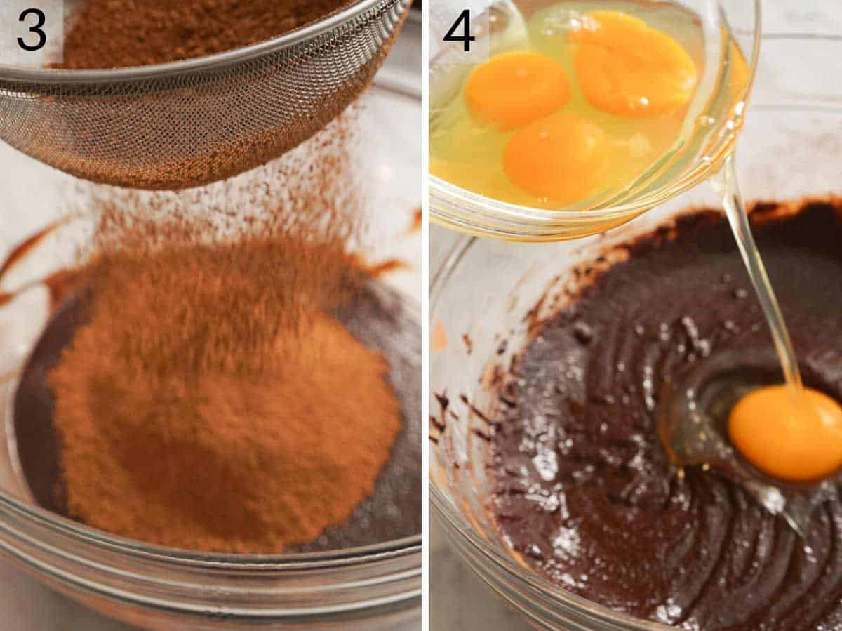 Two photos showing how to make a flourless chocolate cake
