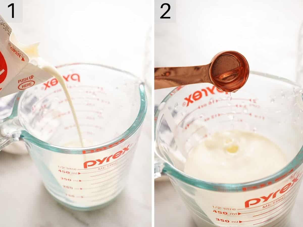 Two photos showing how to add cream and lemon juice to a jug to make sour cream