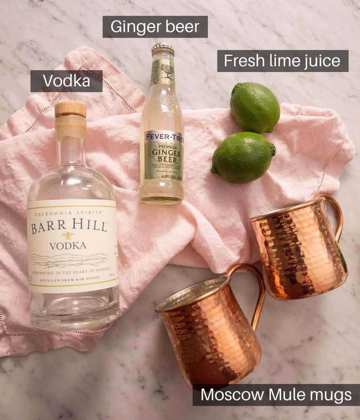An overhead shot of all the ingredients you need to make a Moscow Mule