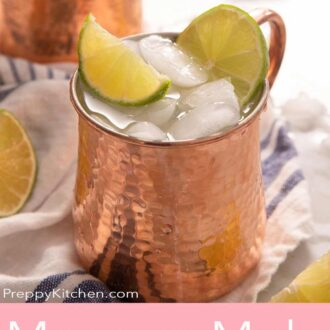 A Pinterest graphic for a Moscow Mule recipe