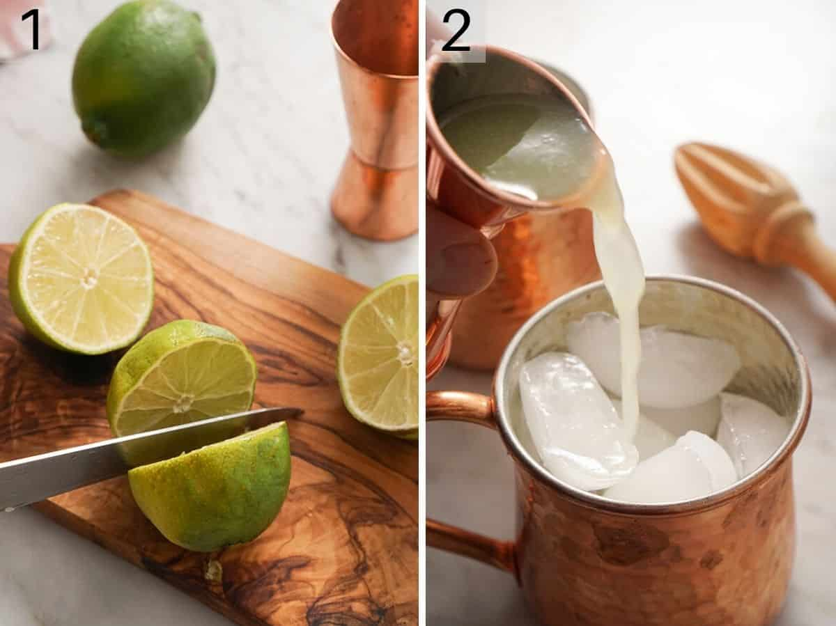 Two photos showing the first steps of making a Moscow Mule recipe