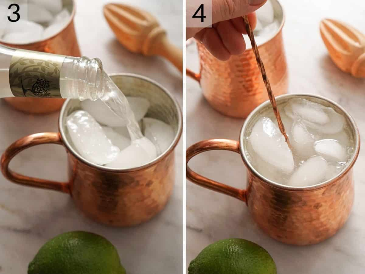 Two photos showing how to add the final ingredients to a Moscow Mule