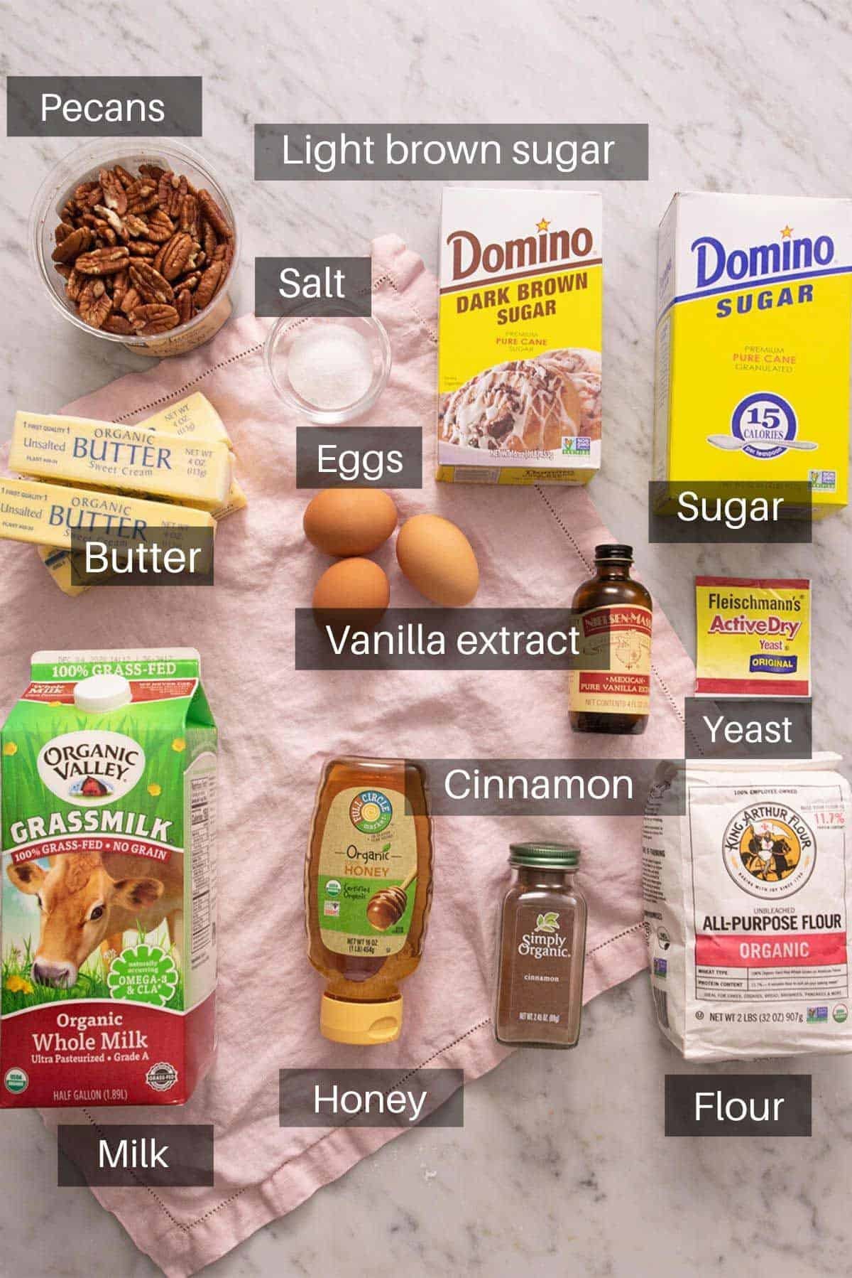An overhead shot of all the ingredients need to make sticky buns