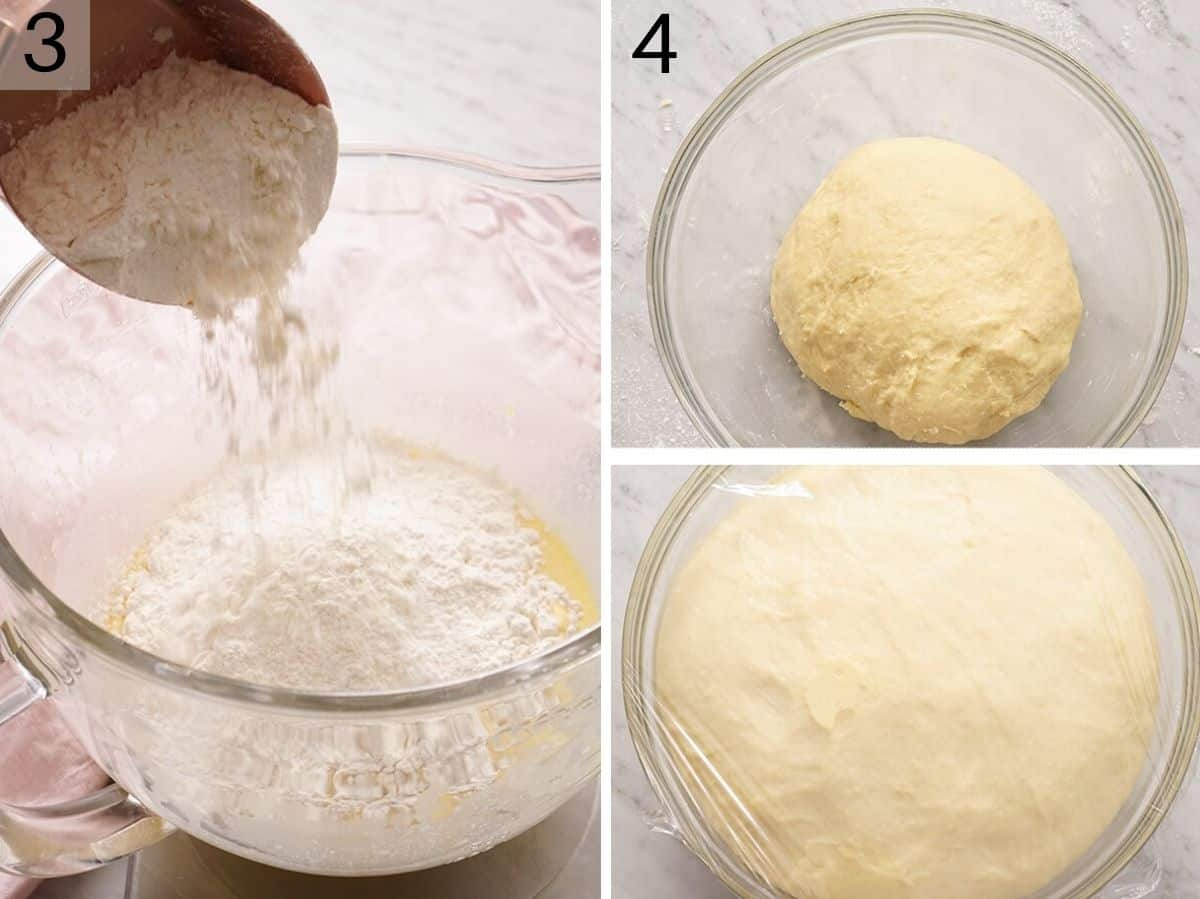 two photos showing how to make dough for sticky buns