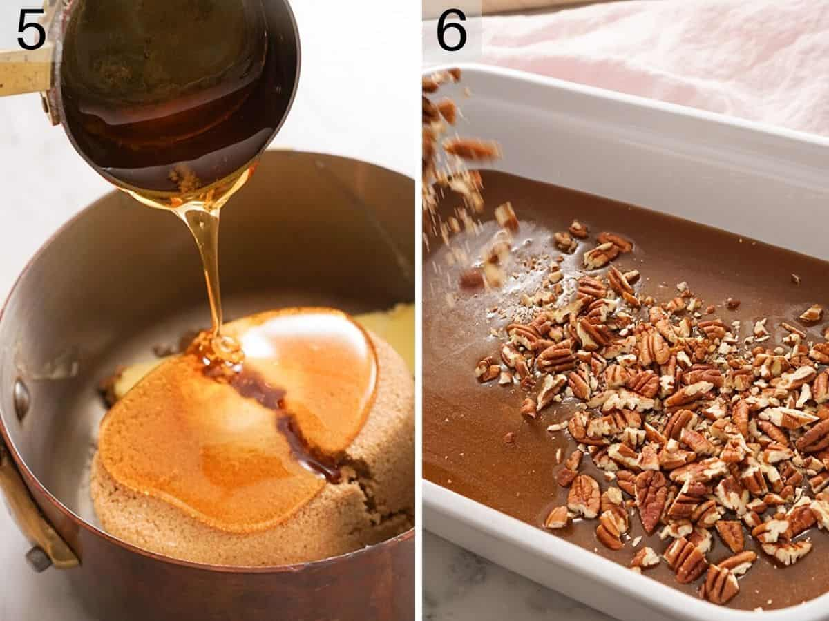 Two photos showing how to make the topping for sticky buns