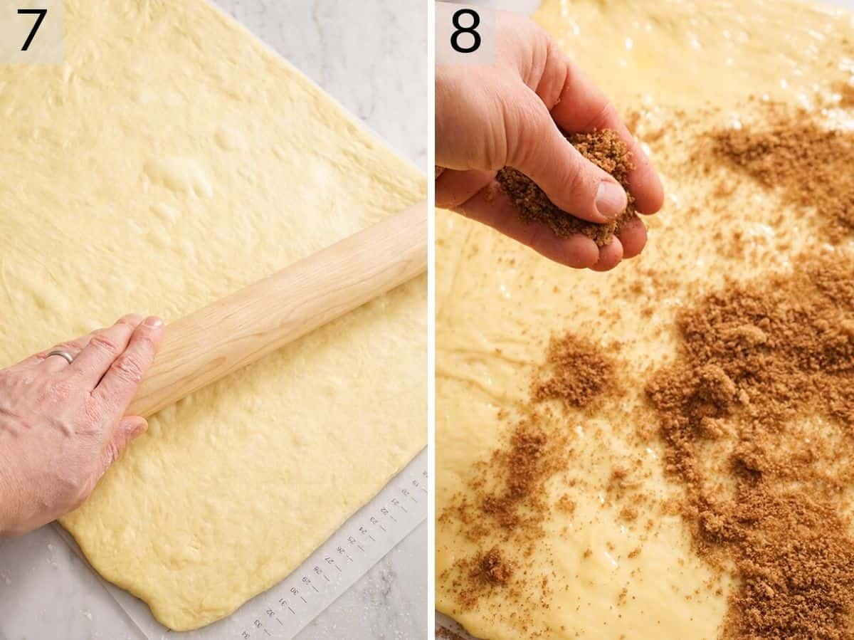 Two photos showing how to roll out and fill sticky buns