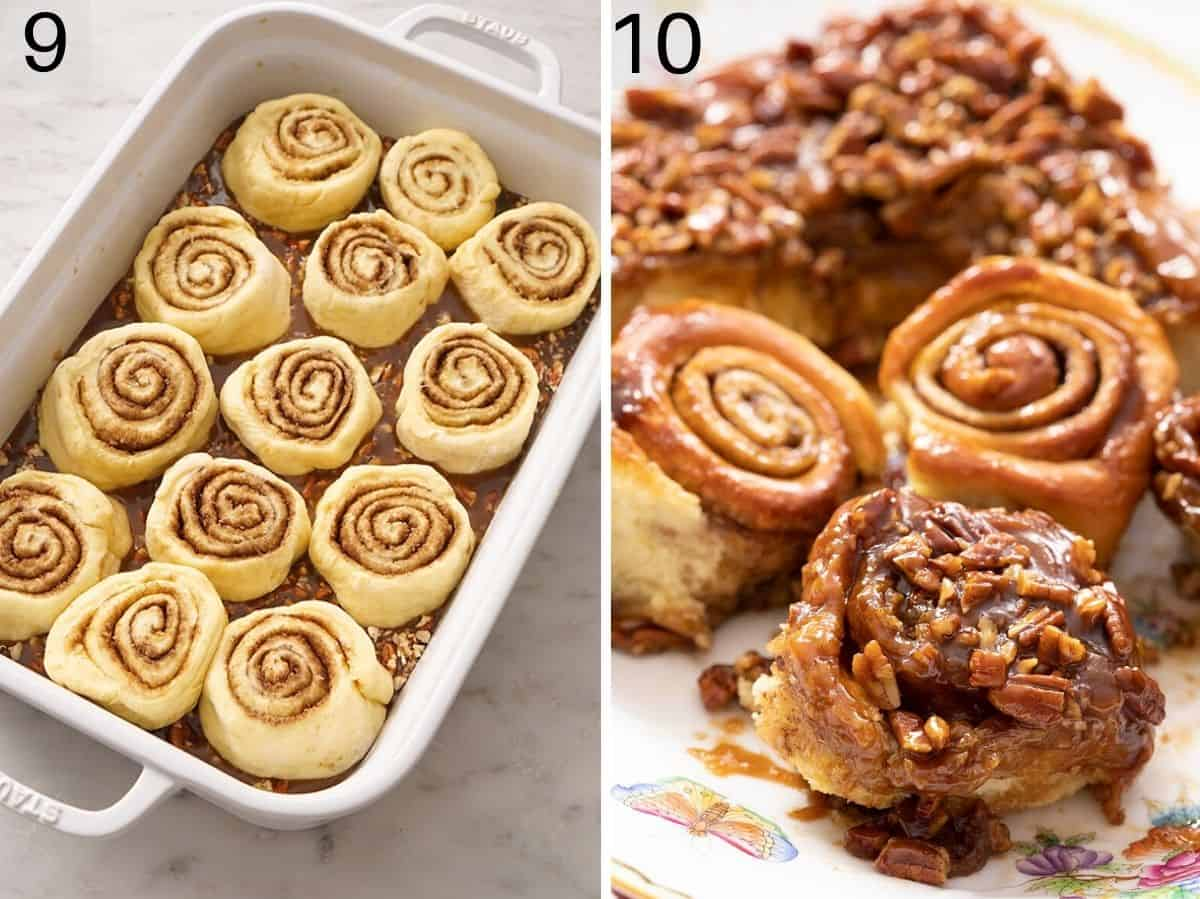 Two photos showing before and after baking cinnamon rolls