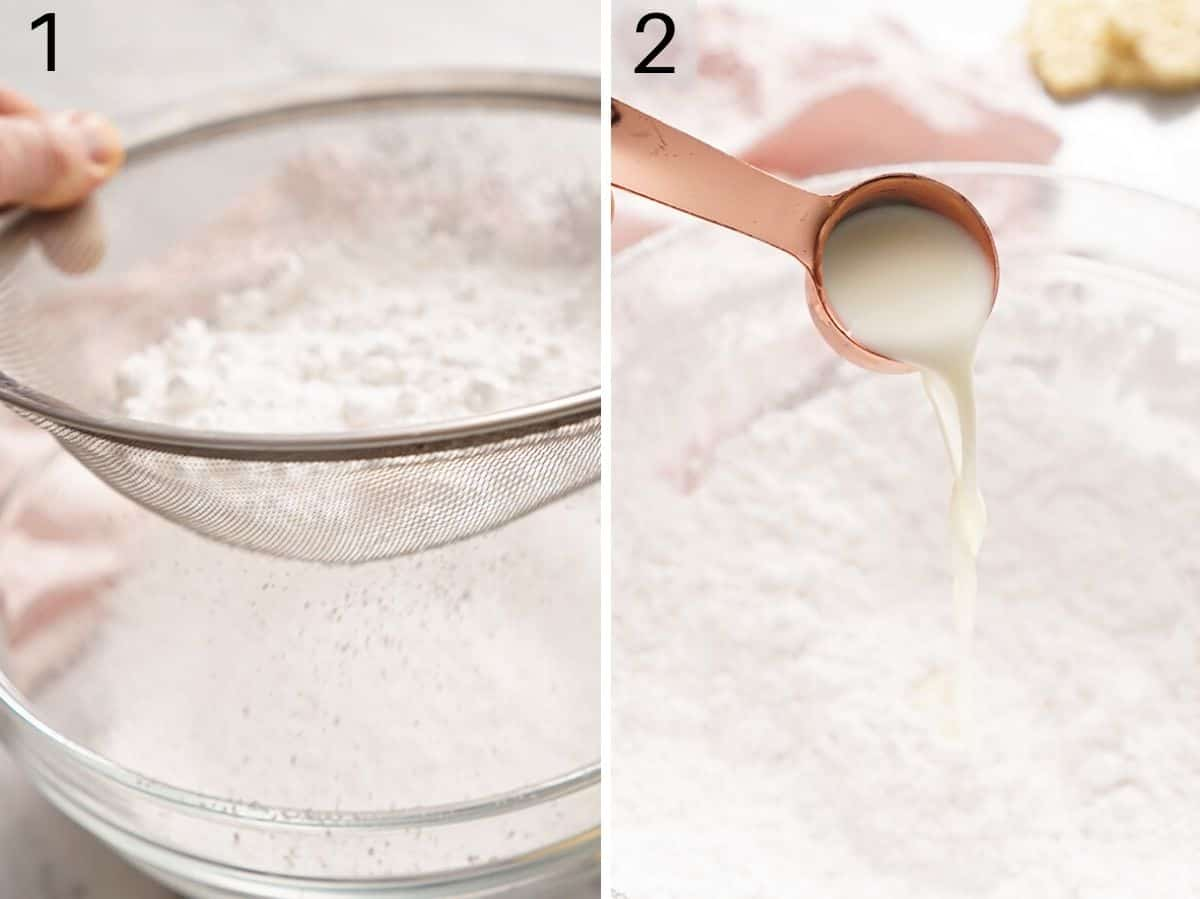 Two photos showing how to sift powdered sugar and add in milk