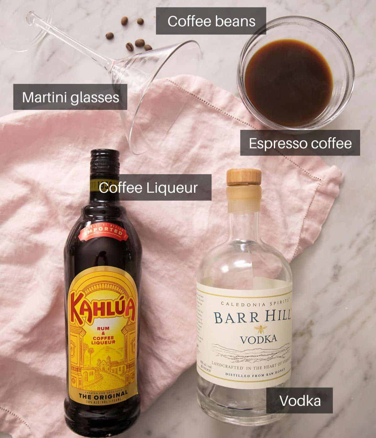 An overhead shot of all the ingredients you need to make an espresso martini