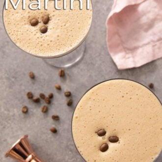 A pinterest graphic of an espresso martini
