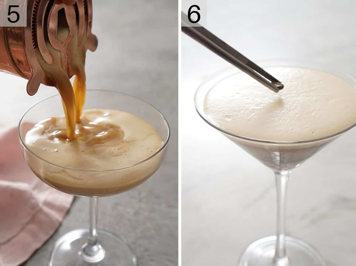 Two photos of a cocktail getting poured into a glass and topped with coffee beans