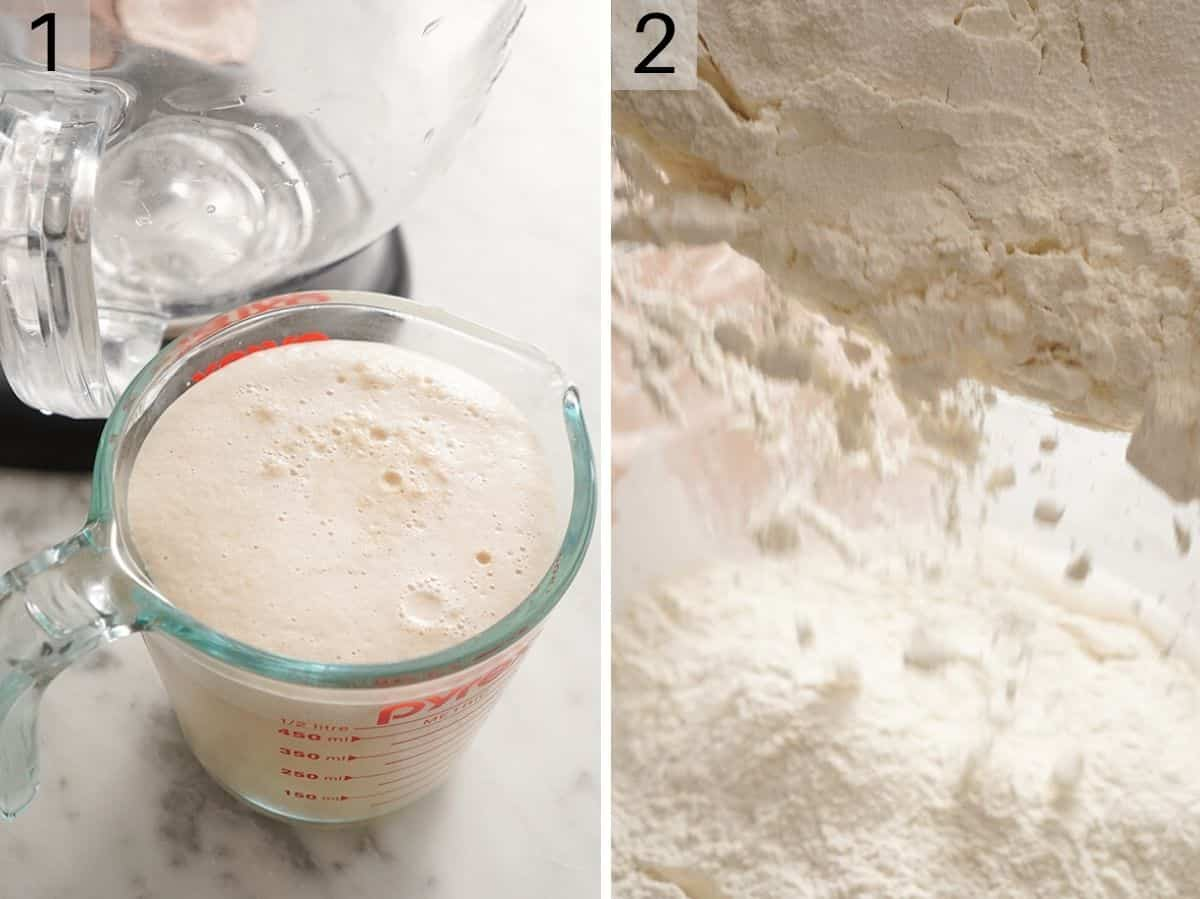 Two photos showing how to make french bread dough
