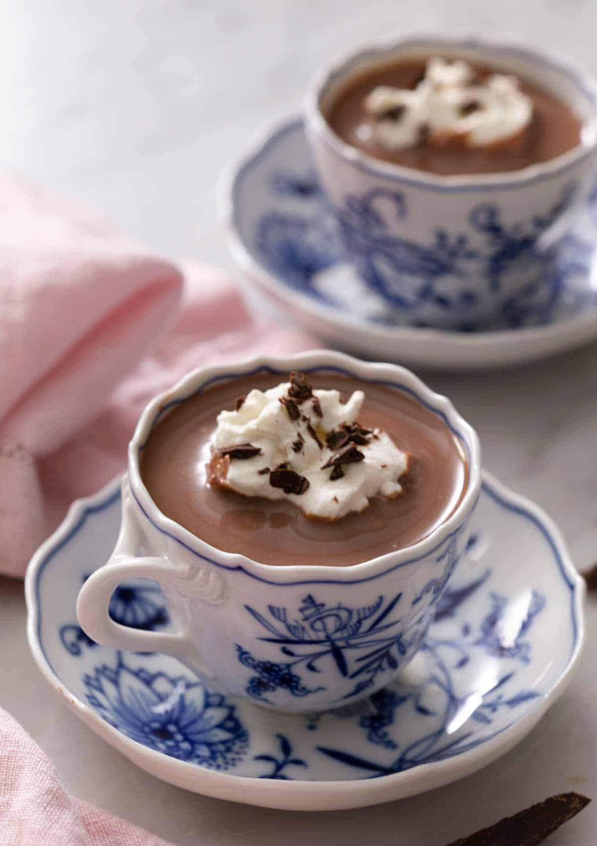 A blue china cup of hot chocolate