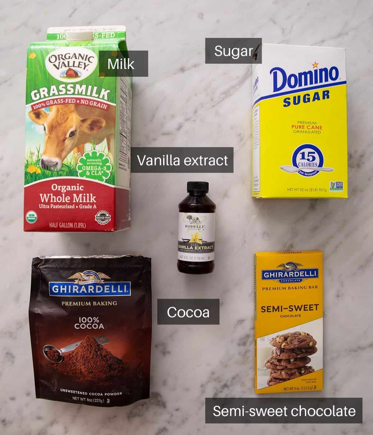An overhead shot of all the ingredients you need to make hot chocolate
