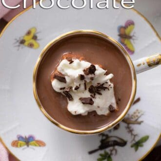 A pinterest graphic of a mug of hot chocolate