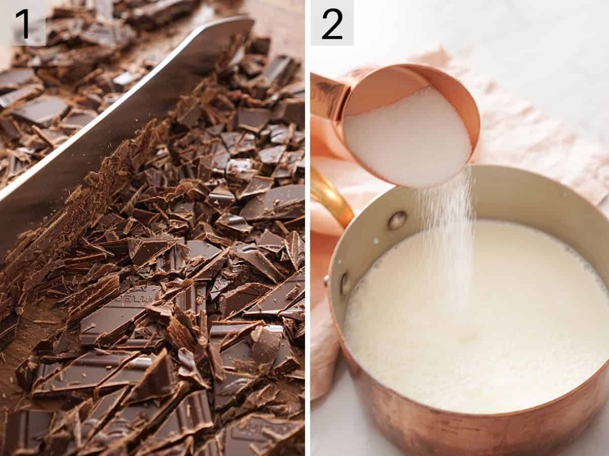 Chocolate getting chopped and sugar getting added to a saucepan of milk