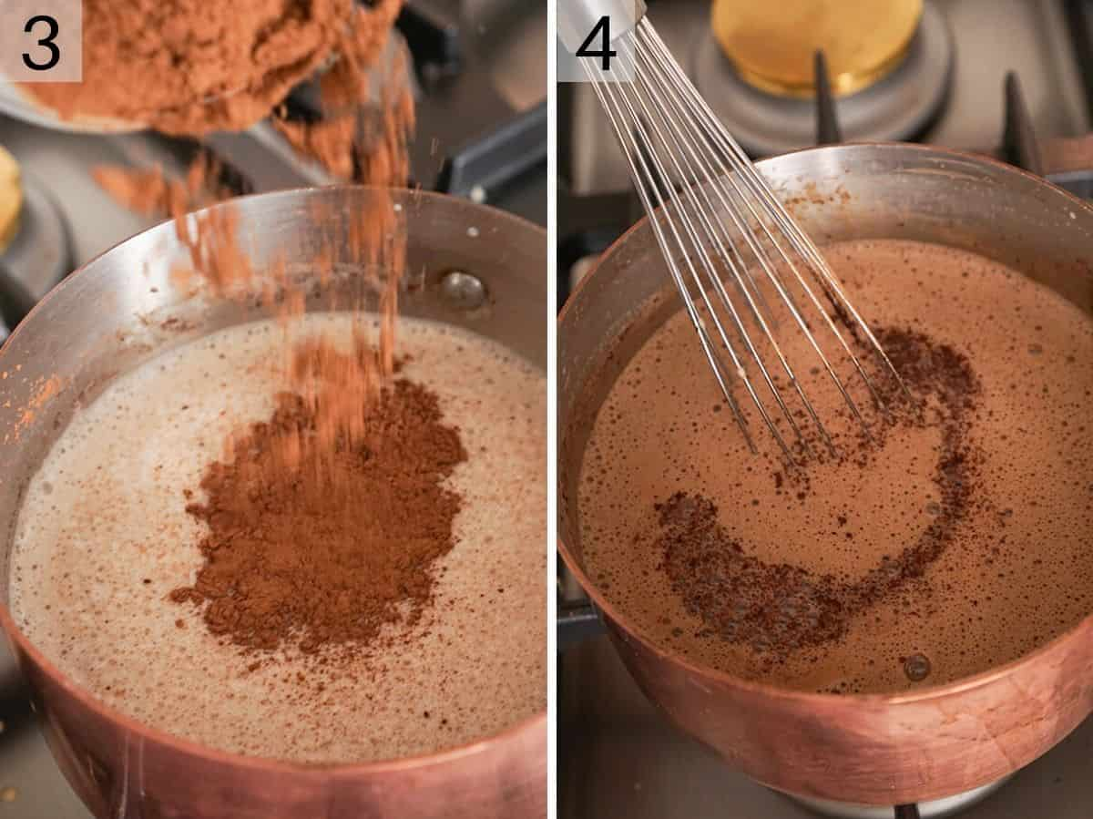 Two photos showing how to make hot chocolate