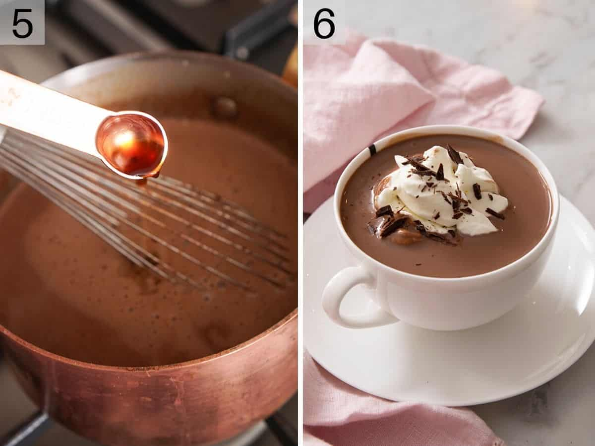 Vanilla getting added to hot chocolate and a mug of it topped with whipped cream