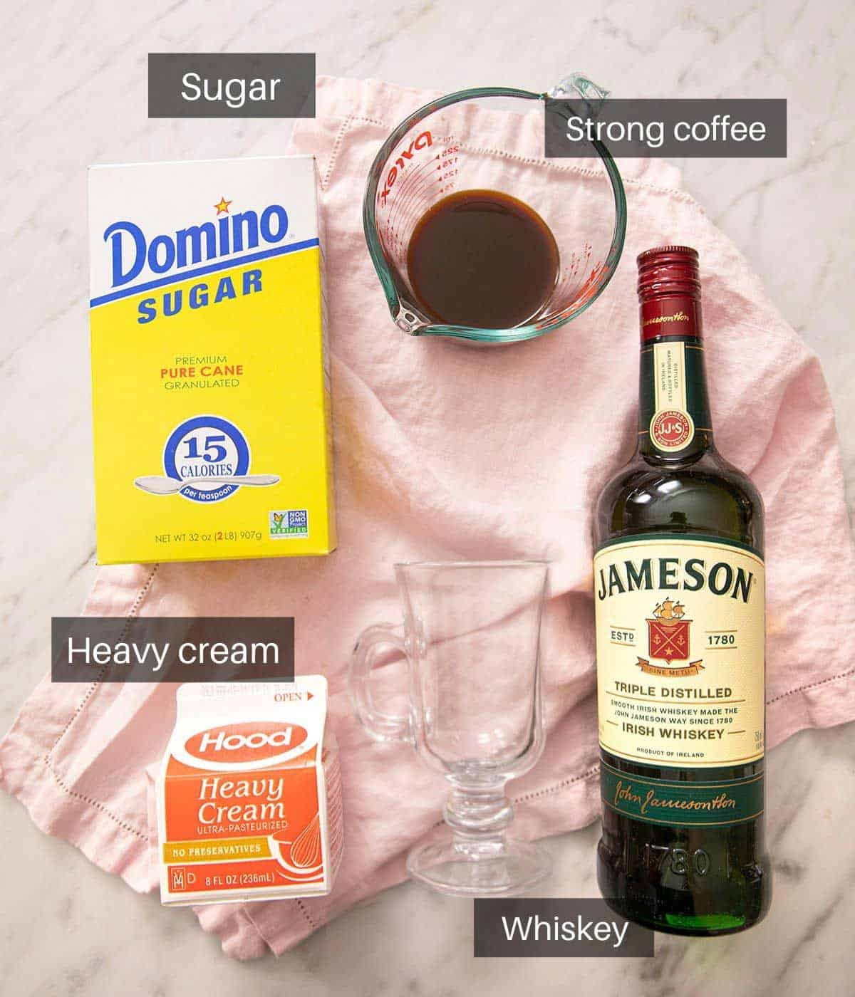 An overhead shot of all the ingredients you need to make an Irish coffee