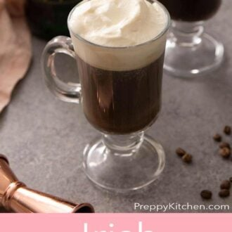 A pinterest graphic of an Irish coffee