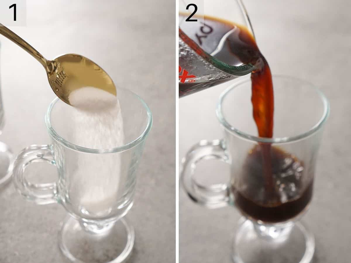 Two photos showing how to add sugar and coffee to a mug