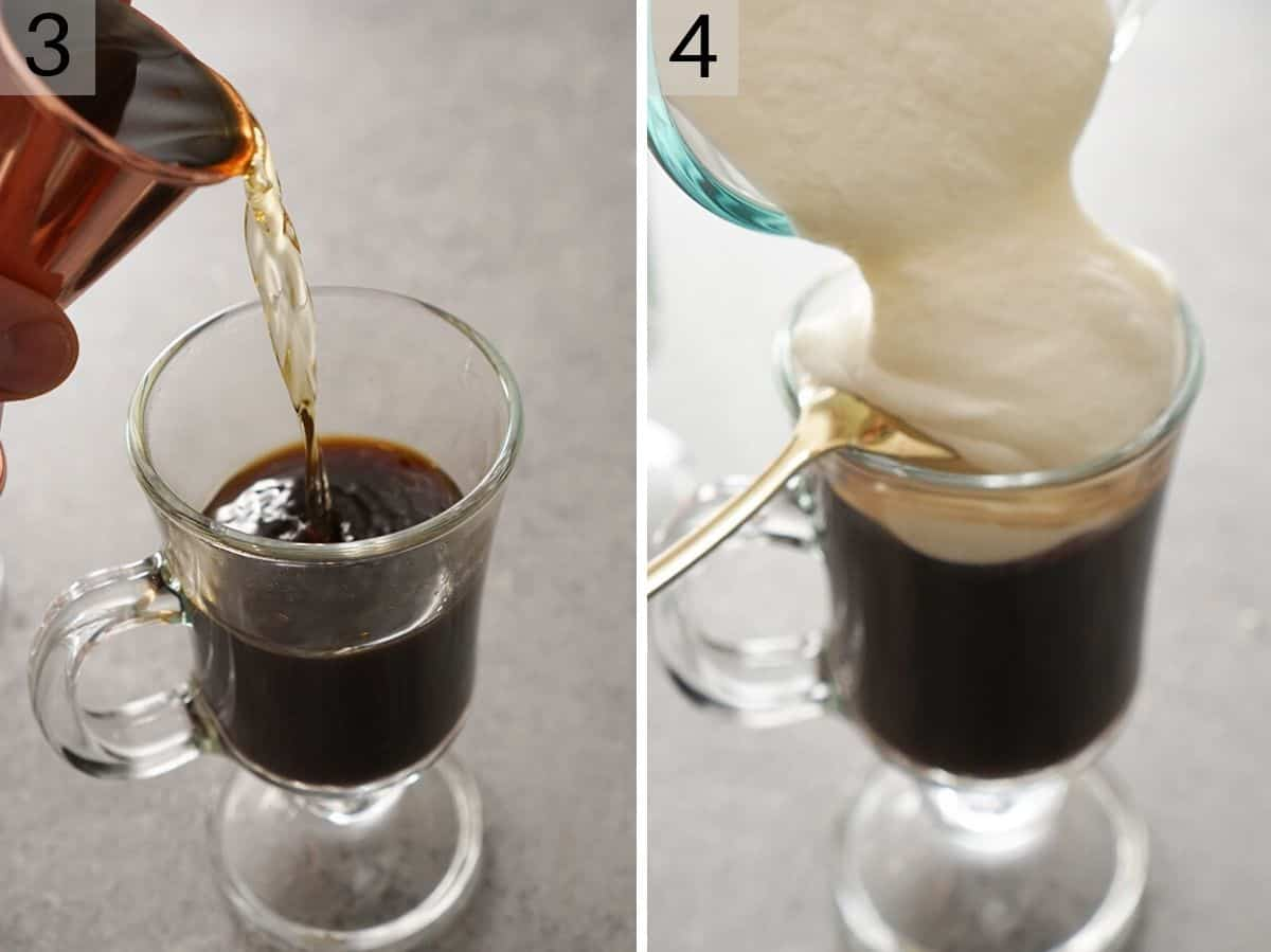 Two photos showing how to make an Irish coffee with whipped cream