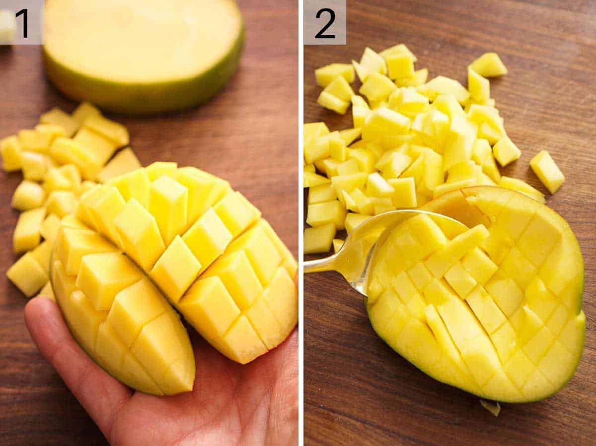 Two photos showing how to cut a mango